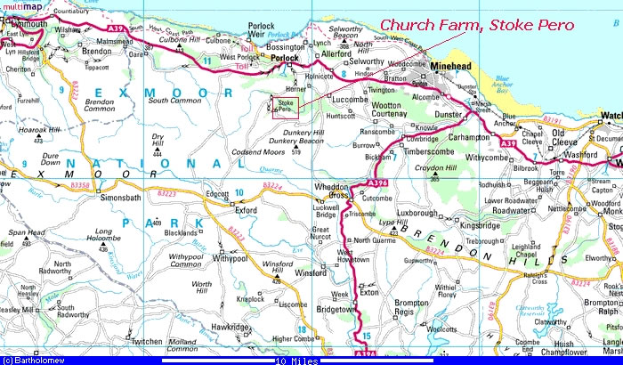 Map of Exmoor National Park showing Church Farm, Stoke Pero